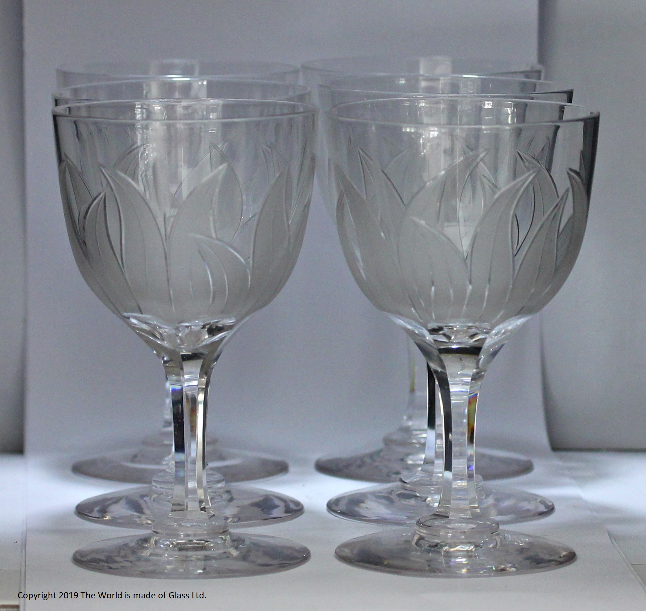 Set of Richardsons Victorian bullrush pattern goblet and carafe