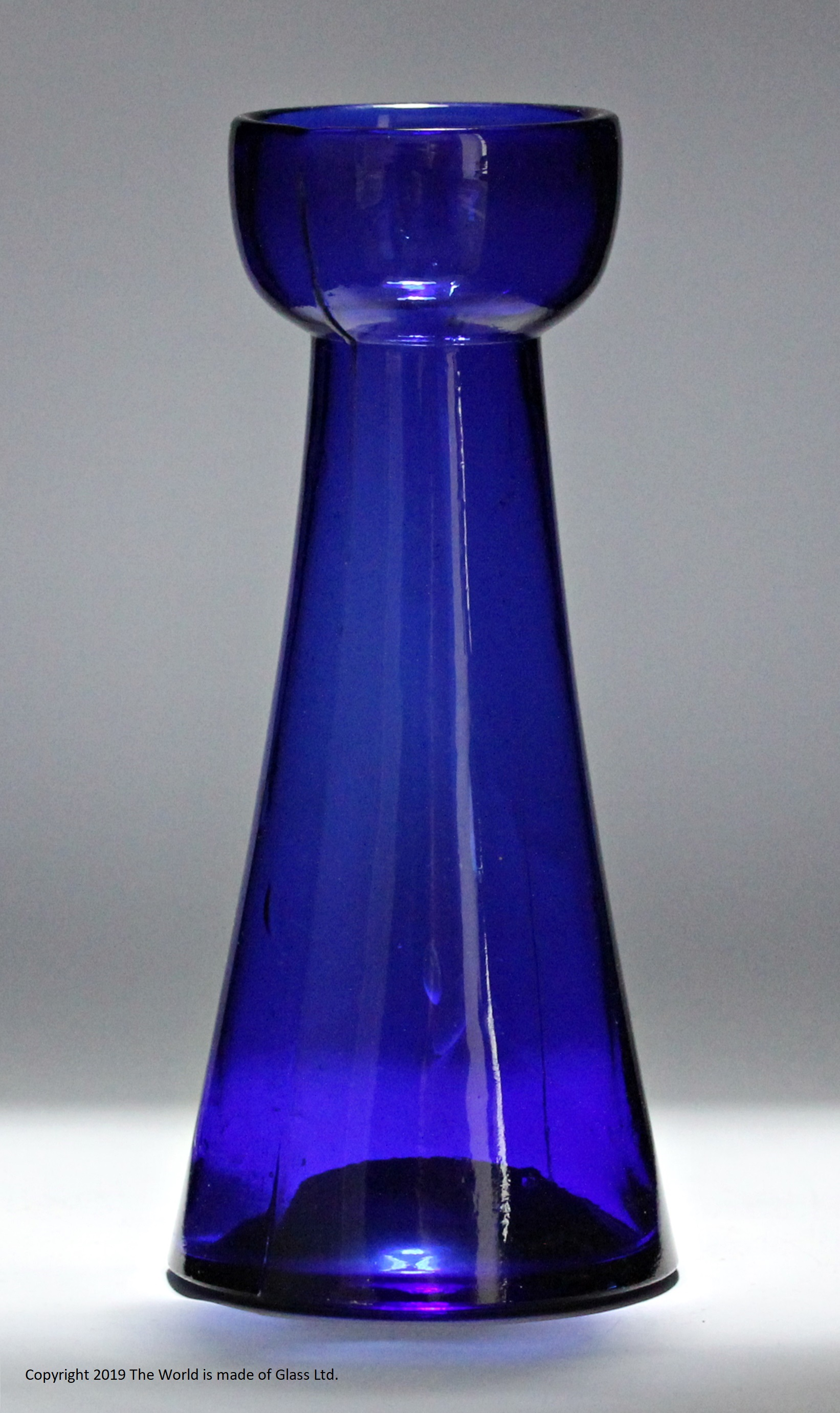 Victorian Bristol blue hyacinth vase