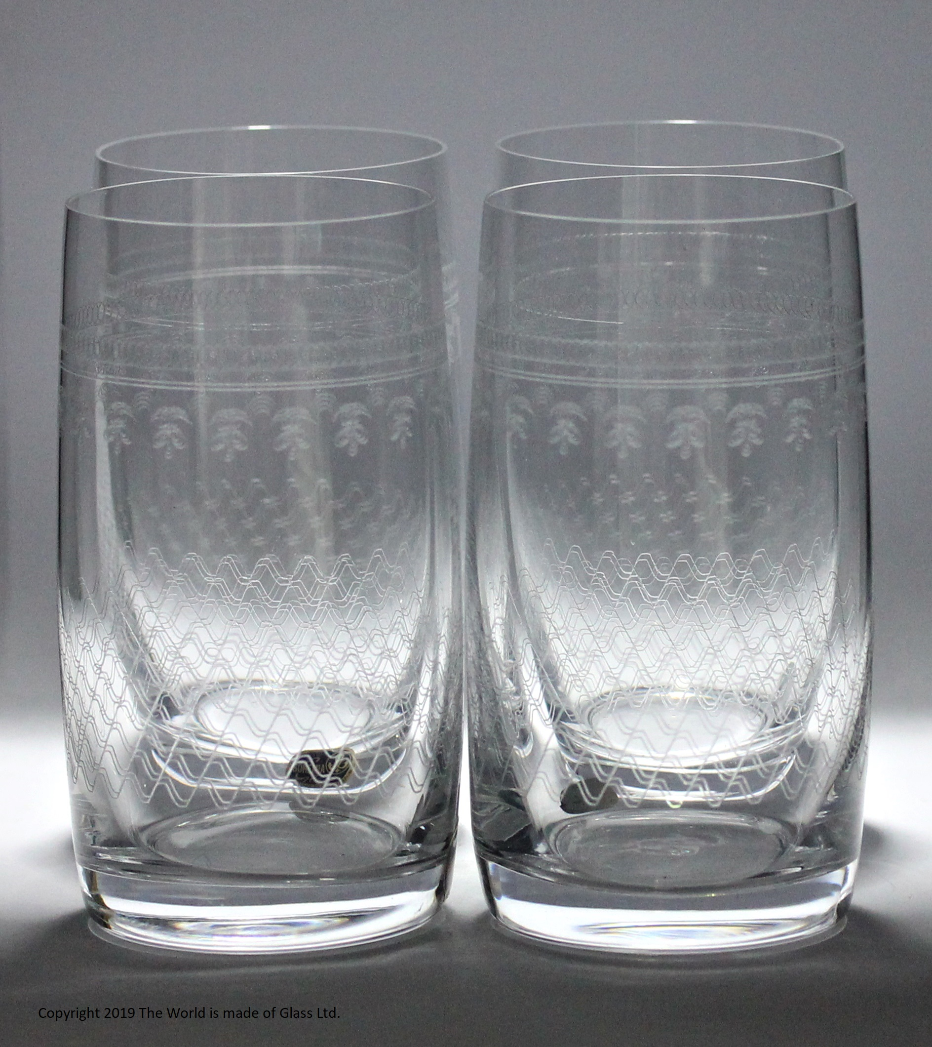 Four lead crystal Lady Hamilton pattern highball glasses
