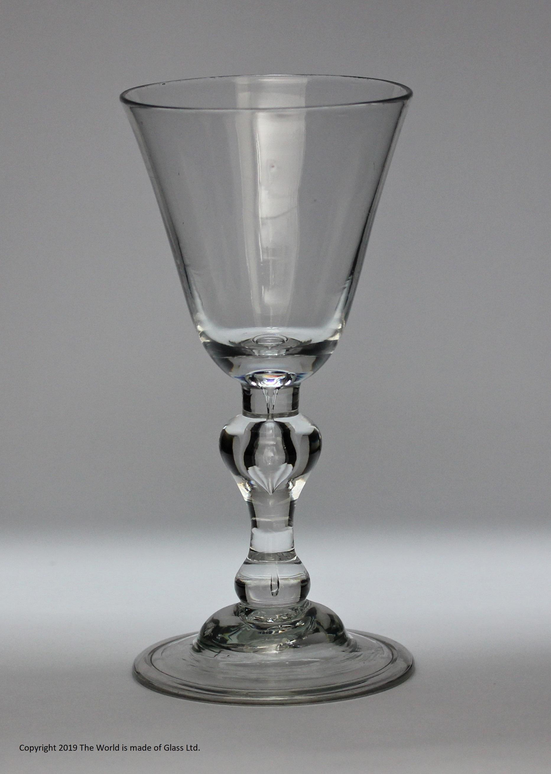Georgian light baluster wine glass