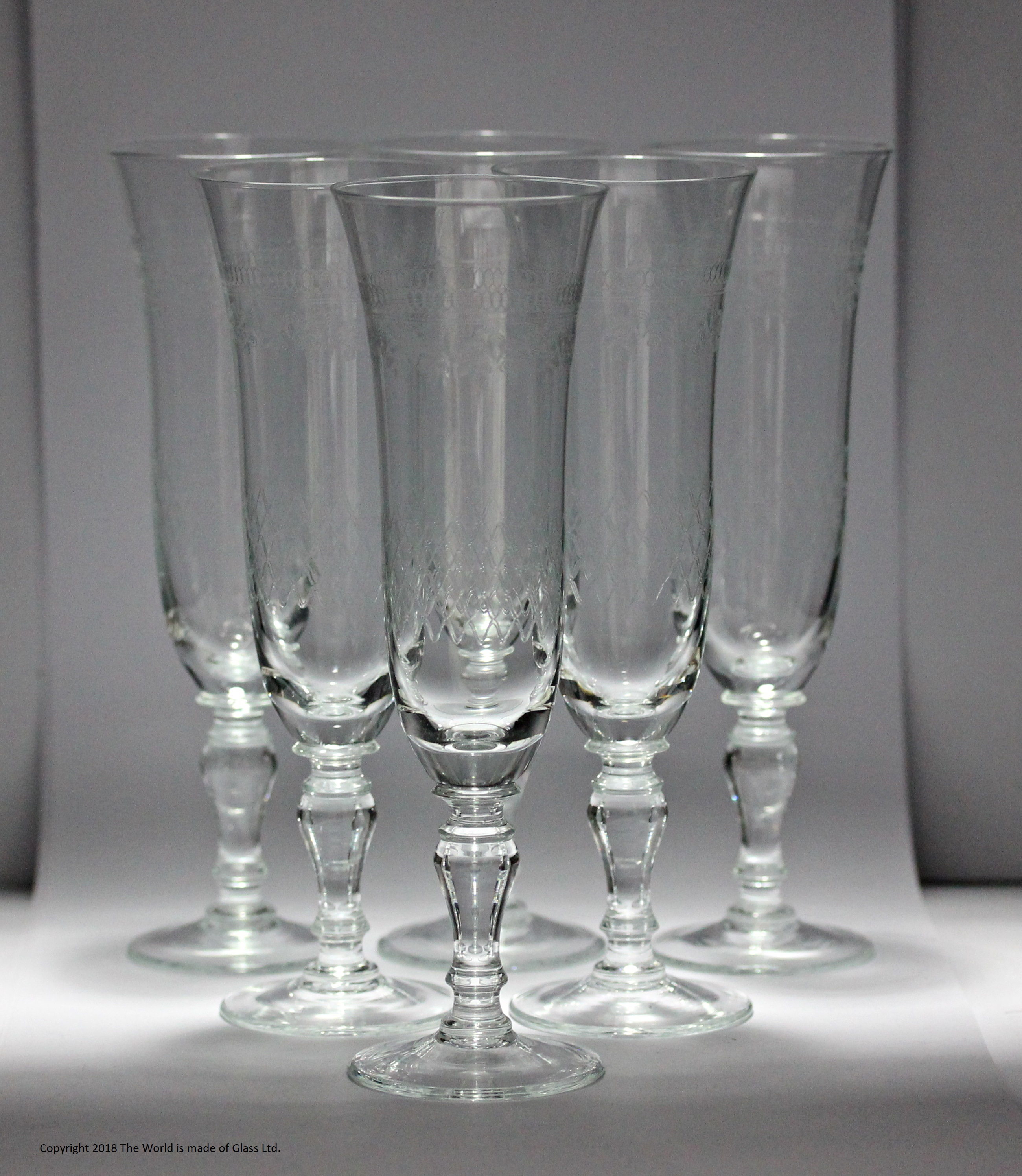 "Set of six ""Pall Mall""/Lady Hamilton pattern lead glass champagne flutes"