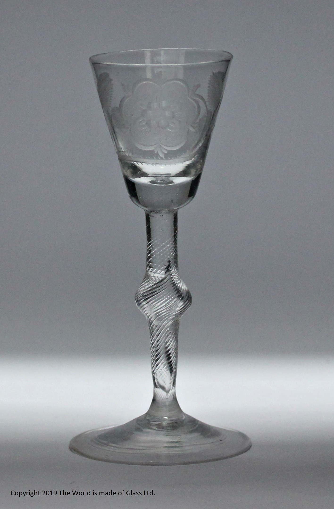 Georgian Jacobite incised twist stem wine glass