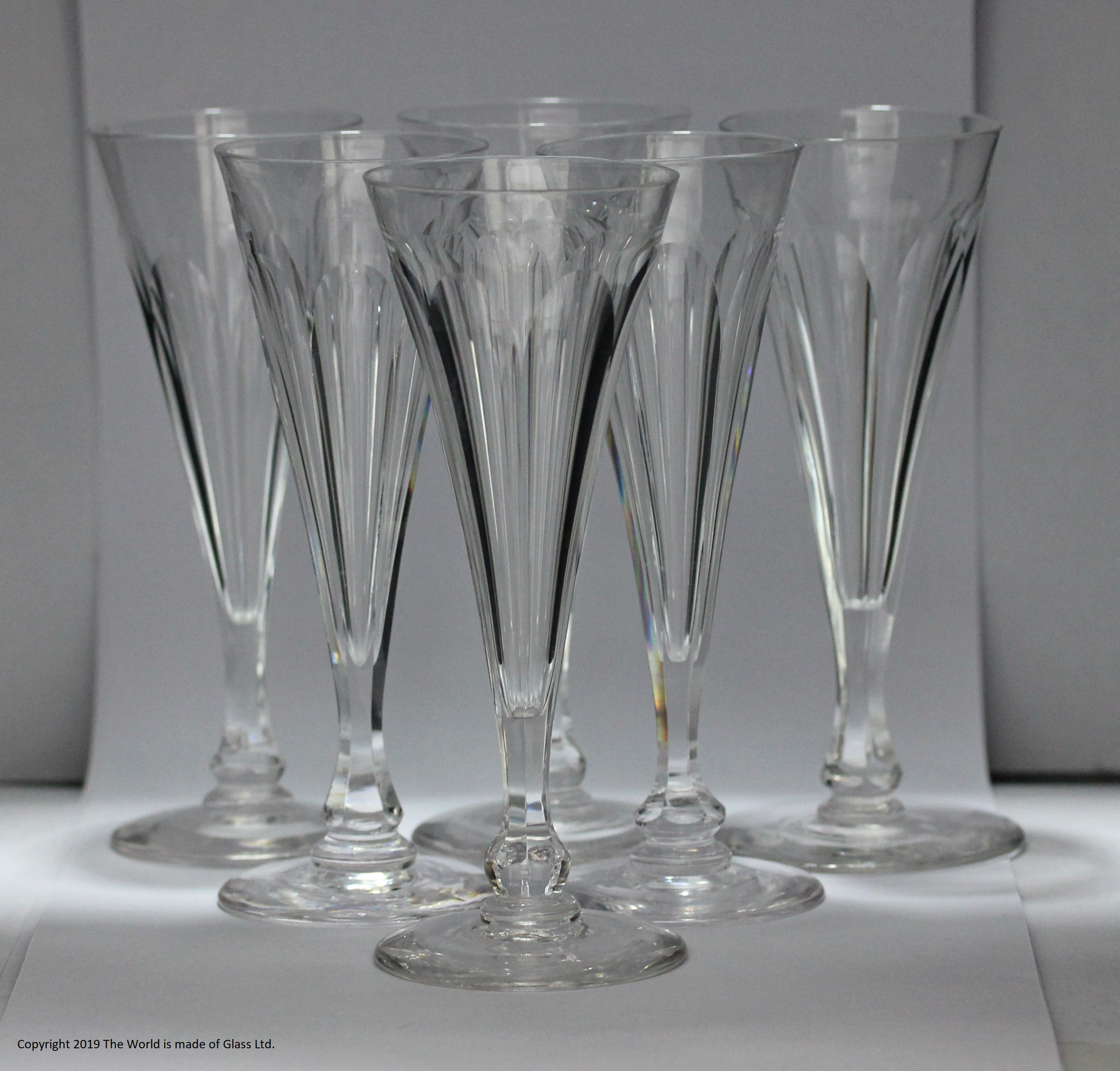 Victorian set of six cut glass champagne flutes
