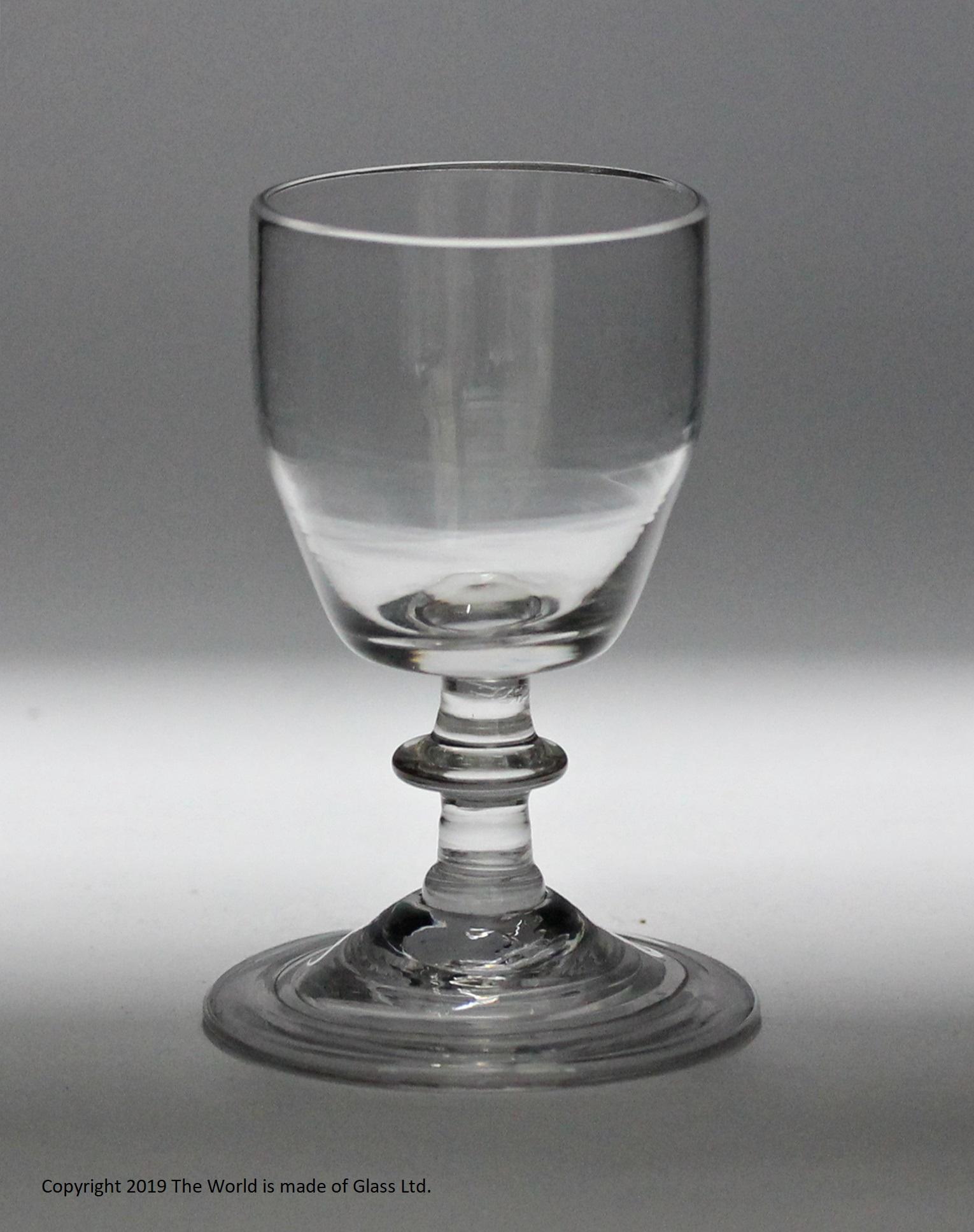 Georgian, English, barrel bowl dram glass, folded foot
